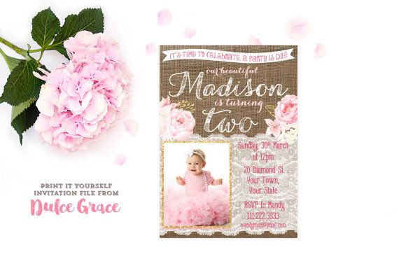 Gold pink 2nd birthday invitations, pink flowers with gold party