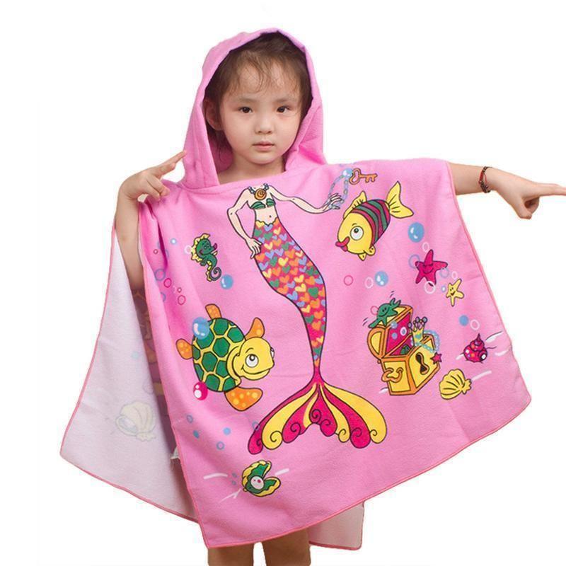 New Children Beach Towel 120 60cm Kids Hooded Cloak Cartoon Baby