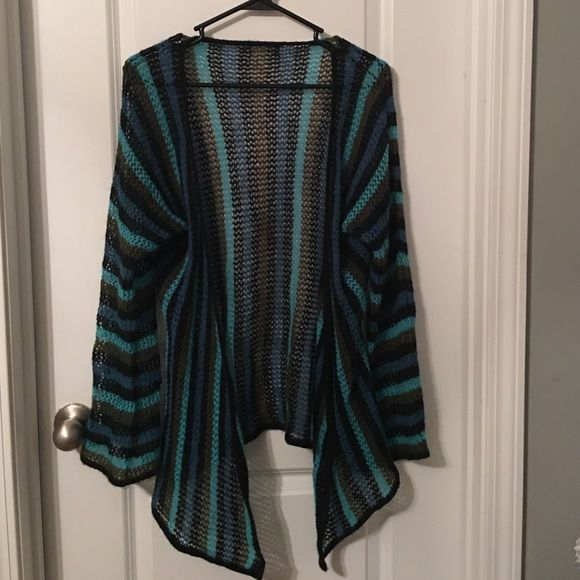 UO Stripe crochet cardigan Beautiful dark stripe crochet cardigan. I cut the tags out since they showed but it fits a small to medium best. Very beautiful. The colors are so dark but so vibrant.❄️❄️you could wear this all year long. Urban Outfitters Sweaters Cardigans