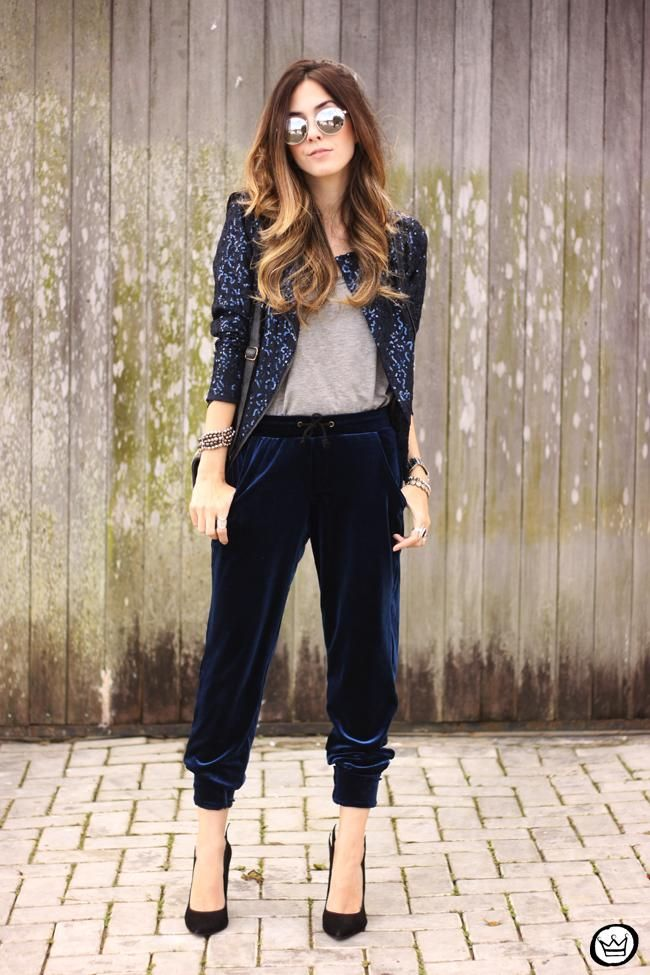Fall   Winter Outfit Idea  Navy blue velvet drawstring joggers worn with a  chic blazer and mirrored sunglasses bf557b85a