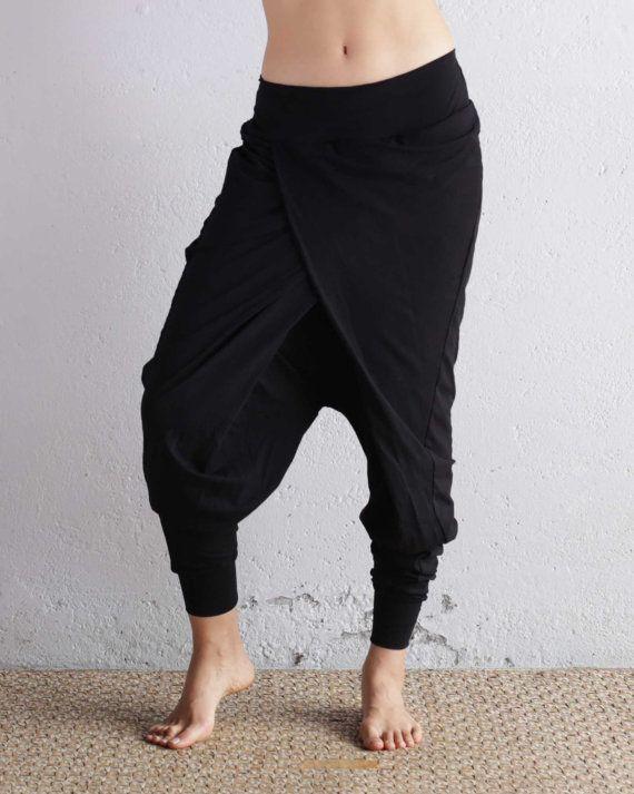 Black Pants Harem Pants Baggy Pants Drop Crotch by eleven44