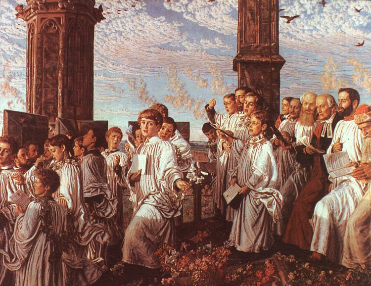 May Morning on Magdalen Tower William Holman Hunt Check more at http://artunframed.com/Gallery/shop/may-morning-on-magdalen-tower/