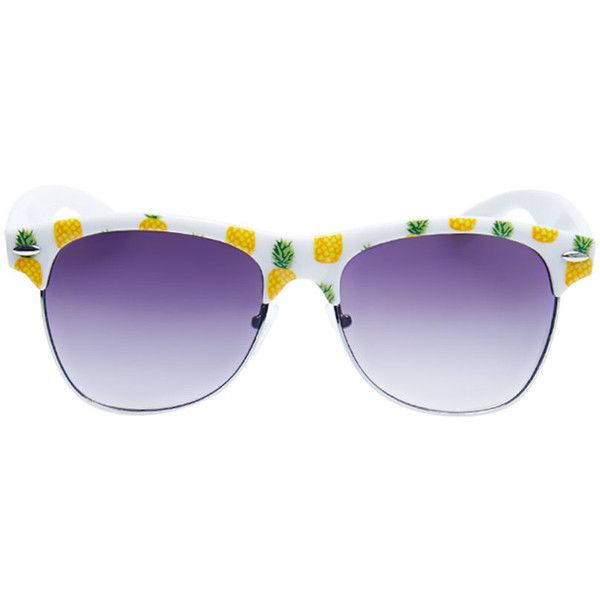 Pine For Pineapples Sunglasses ($4.99) ❤ liked on Polyvore featuring accessories, eyewear, sunglasses, glasses, óculos, yellow, nose pads glasses, metal frame sunglasses, imitation sunglasses and lens glasses