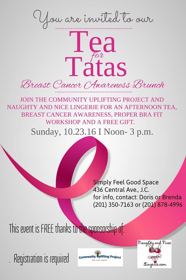 Do you know a woman who was a breast cancer or a domestic violence survivor? They're invited 10/23 for Tea for Tatas https://www.facebook.com/events/892165697580944/