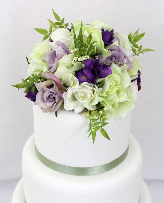 Wedding Cake Topper Purple Rose And Green Hydrangea Silk Flower