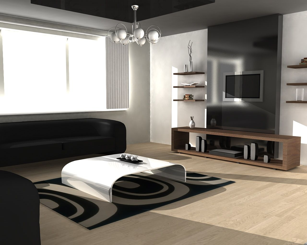 White stripes futuristic living room interior design integrated led - Futuristic Living Room Furniture 3d Design Concept Featuring Black Modern Sofas And High Gloss White Curved