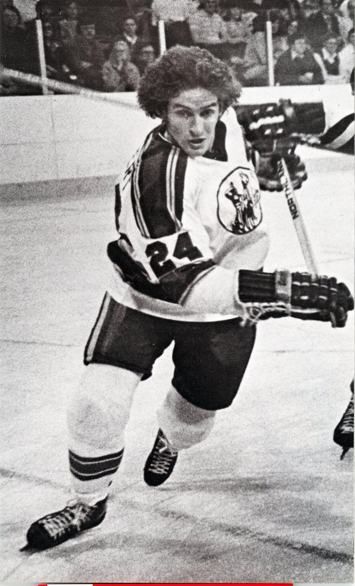 Ed Gilbert with the Kansas City Scouts. Hockey season