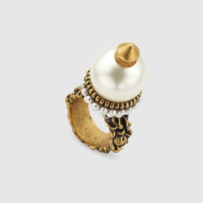 Gucci Textured ring with glass pearl buds zHryB8IR