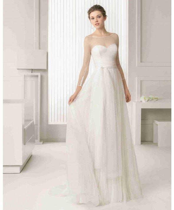 Elegant Illusion Long Sleeve A Line Bridal Wedding Dress