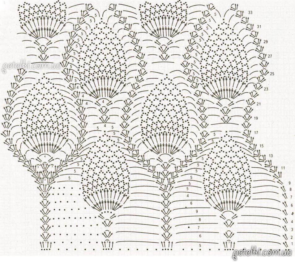 Elegante piña crochet falda larga. Descripción del esquema | faldas ...