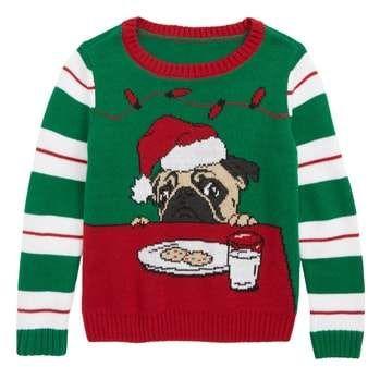 Womens Meowy Christmas Cat Cute Elf Ugly Christmas Sweater V-neck T-Shirt Black
