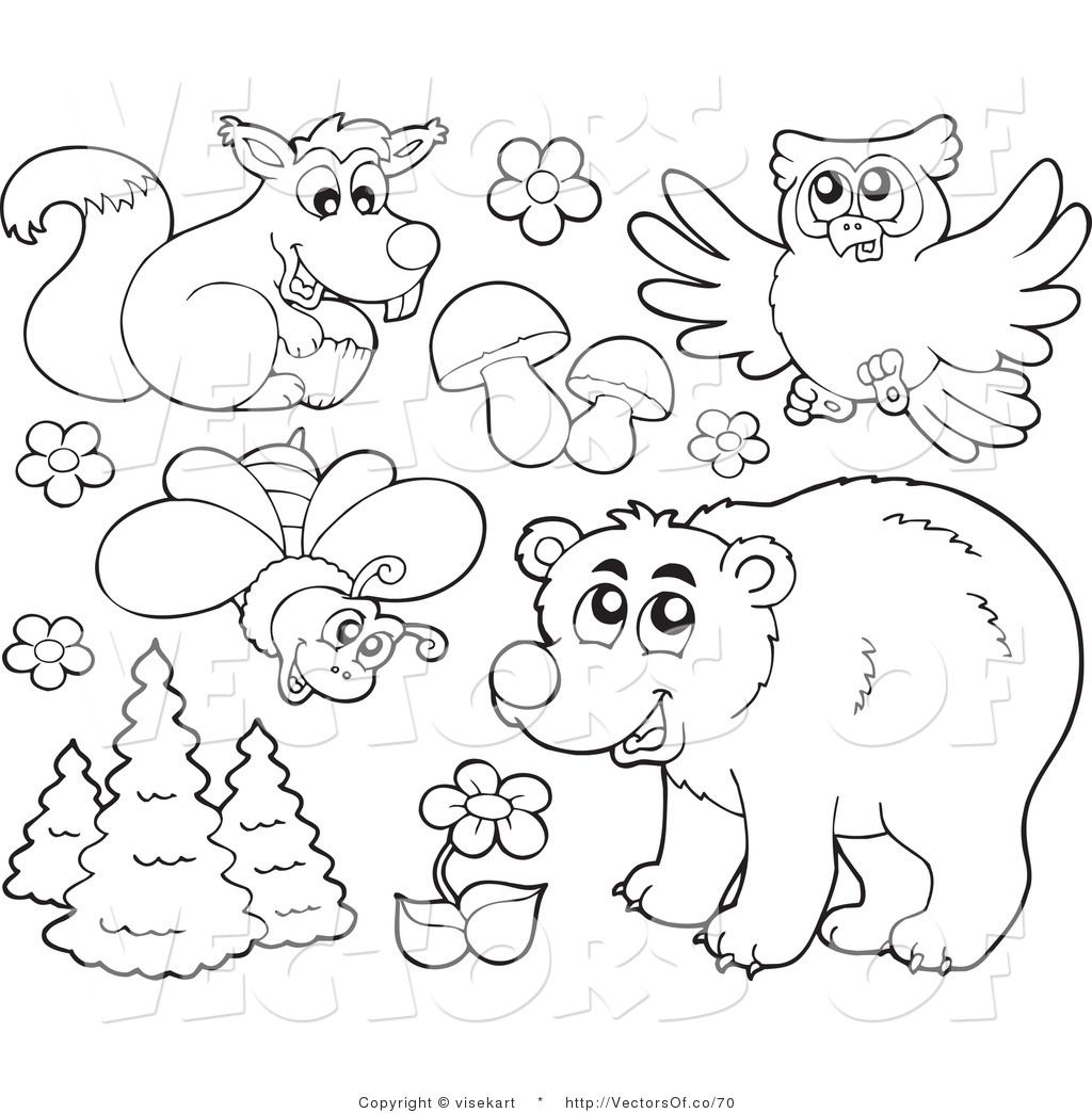 Forest Animals Clipart Black And White Widescreen 2 HD