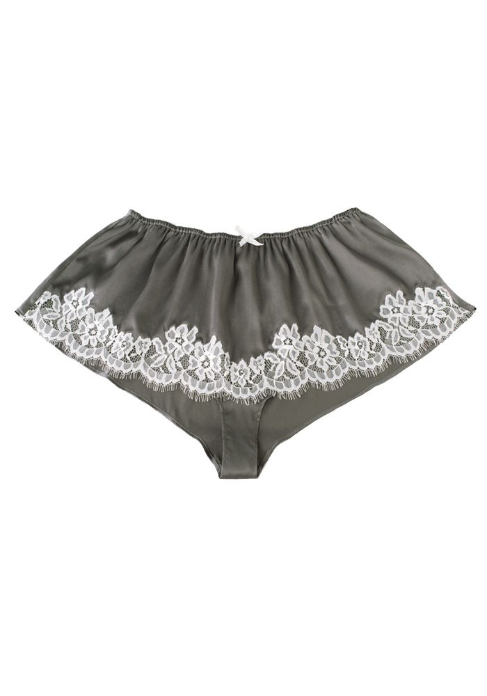 69e7723a6349 Silk women's french knickers--Dark-Gray-(stretch-satin) knickers #Silk # knickers | Revesilk.com