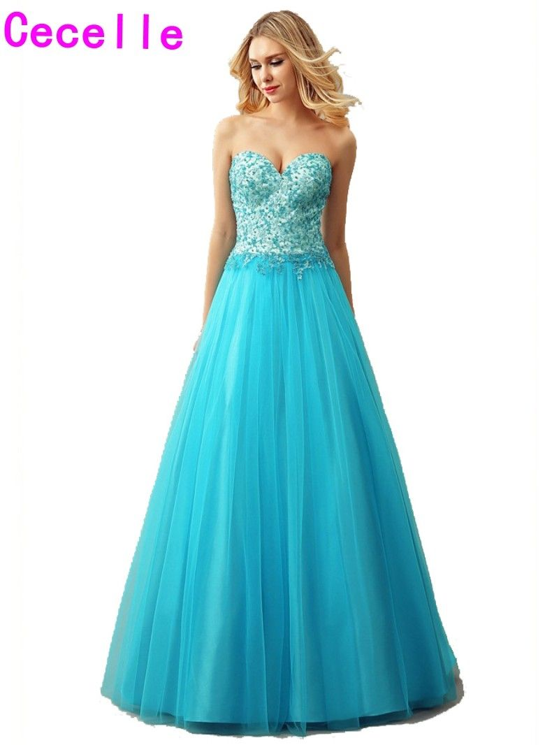 2017 Sexy Blue Tulle A-line Puffy Prom Dresses Sweetheart Floor ...