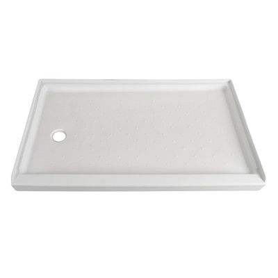 """Hazelwood Home Shower Base Drain Location: Right, Size: 3.5"""" H x 60"""" W x 32"""" D"""