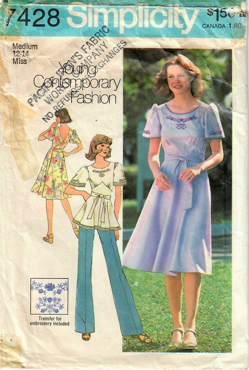 ffa25e5283c26 1970s Simplicity 7428 Vintage Sewing Pattern Misses Wrap Dress