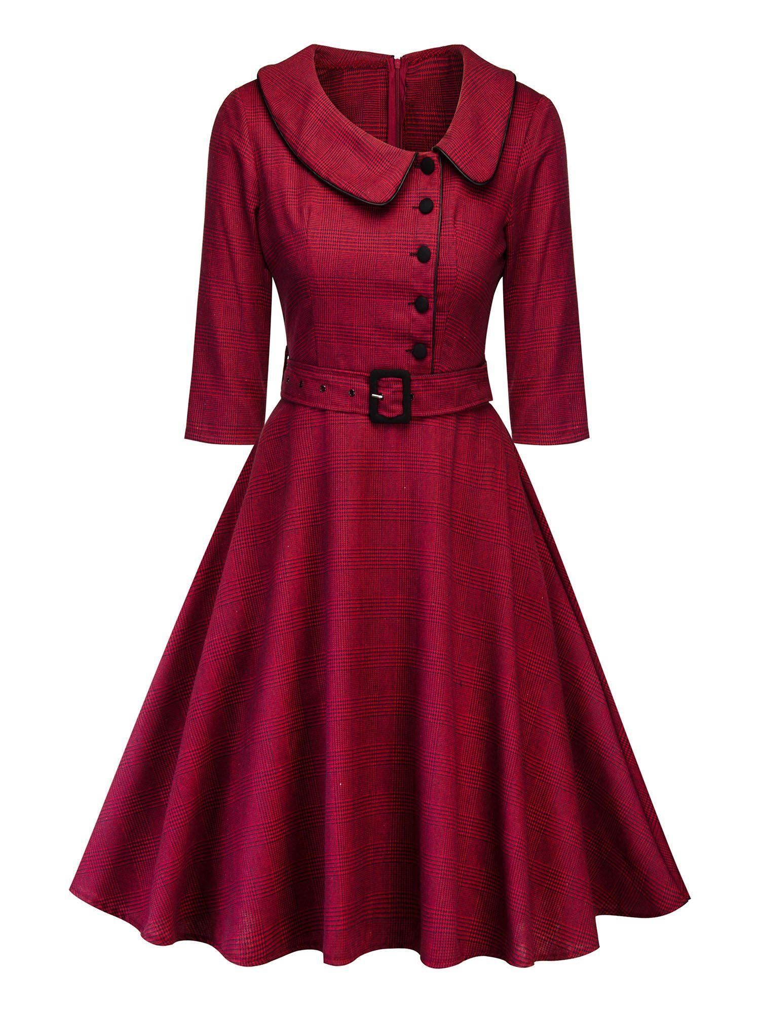 Himone Women Button Lapel Swing Dress Vintage Long Sleeve Rockabilly Cocktail Evening Party Housewife Dresses Waistband Walmart Com Housewife Dress Vintage Dresses Vintage Red Dress [ 2000 x 1500 Pixel ]