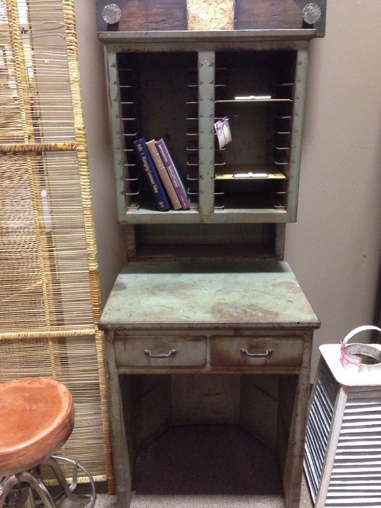 Vintage Industrial Steel Desk #unknown