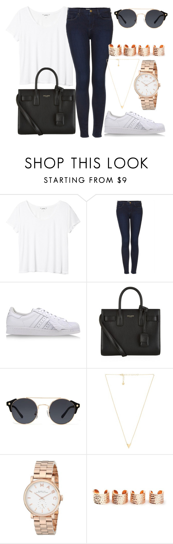 """Untitled #170"" by beautstakingovertheworld ❤ liked on Polyvore featuring Monki, Topshop, adidas, Yves Saint Laurent, A.J. Morgan, Gorjana, Marc by Marc Jacobs, Maison Margiela, women's clothing and women"