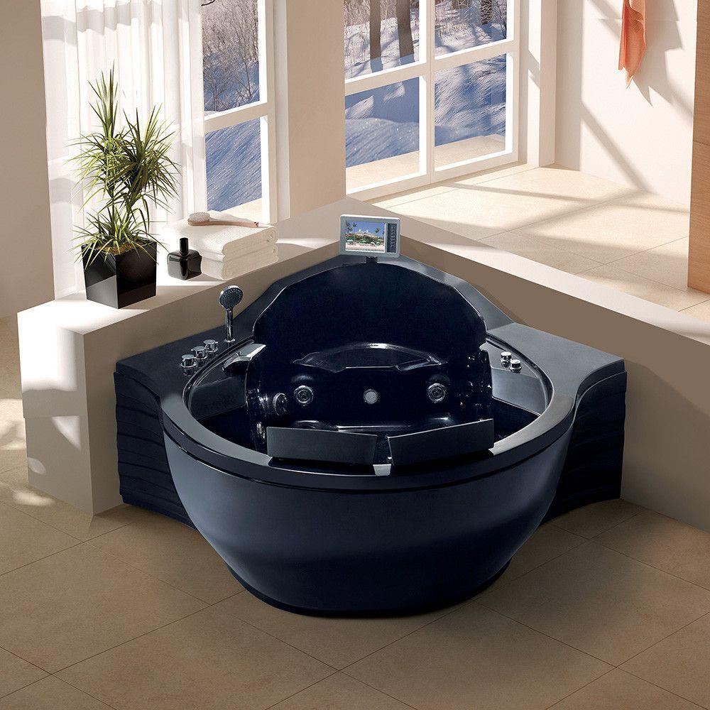 Maya Bath Tercera-Black 5\' 2-person Corner Acrylic Whirlpool Bathtub ...