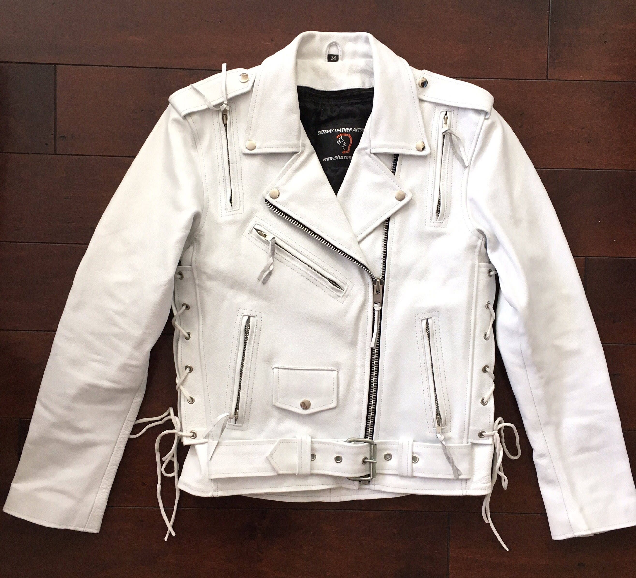 c0c9c68b3 Vtg White Leather Jacket womens L / XL biker moto vintage gorgeous mens  medium zip up zippers pockets corset Shoznay fully lined safe sale by ...