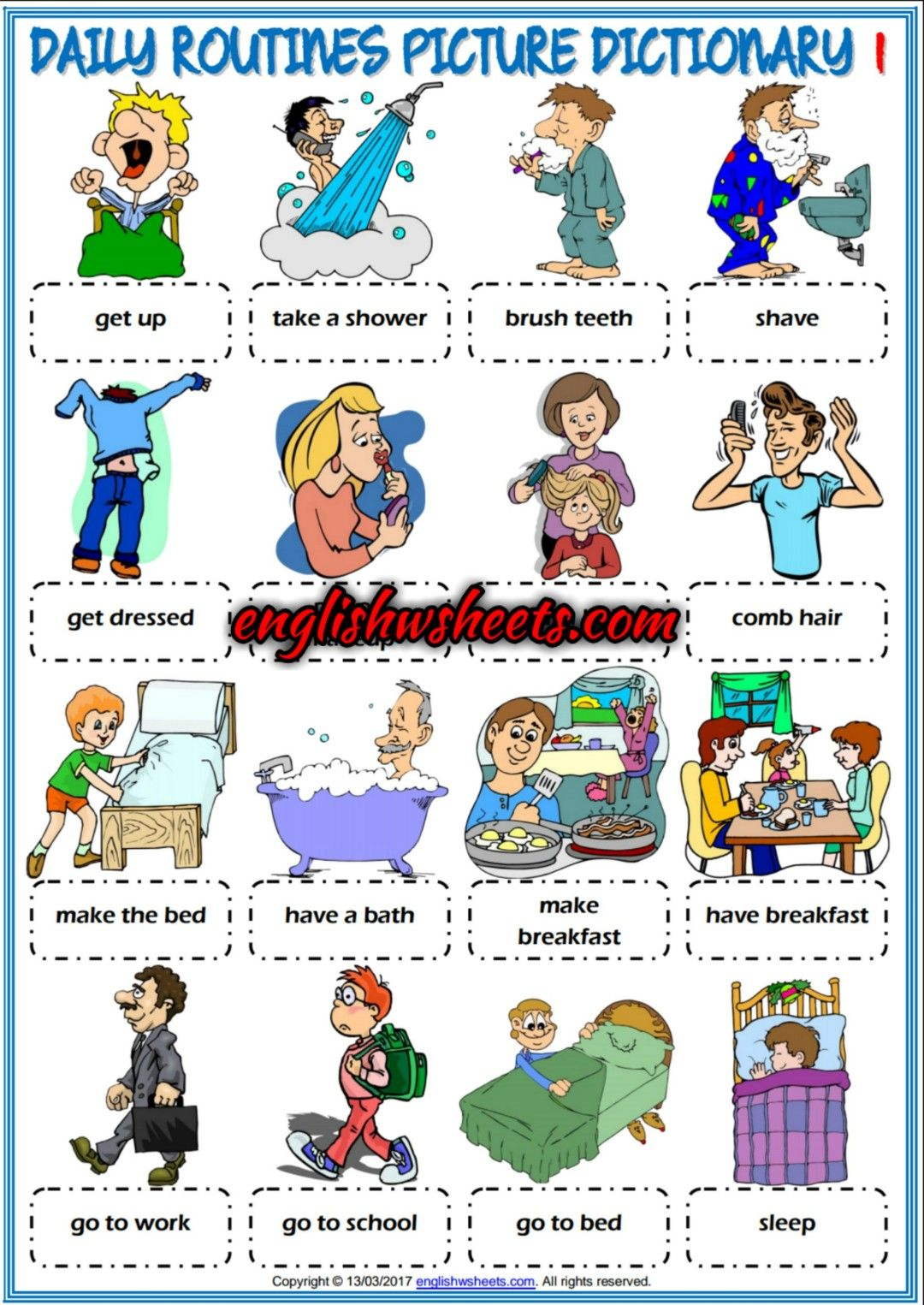 Daily Routines Esl Printable Picture Dictionaries For Kids