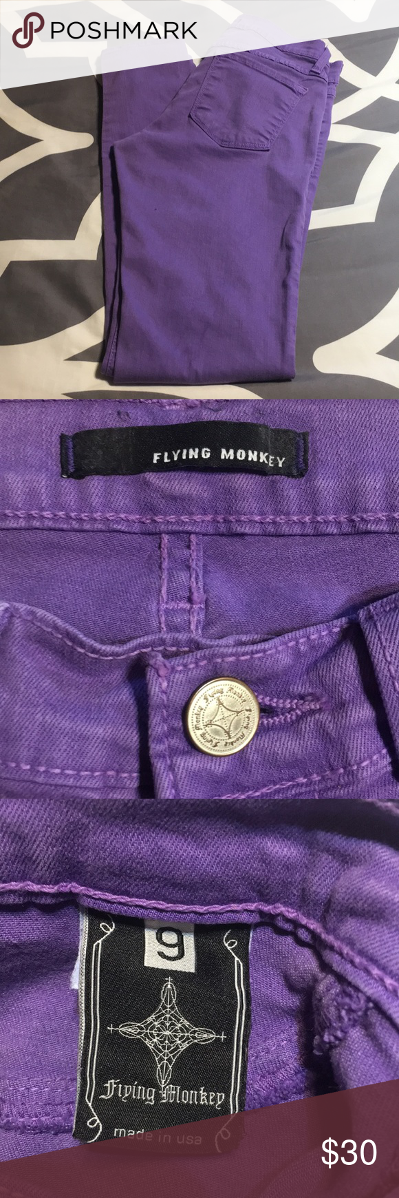 ❤️ flying monkey purple skinny jeans. S 9 Pre owned. Good