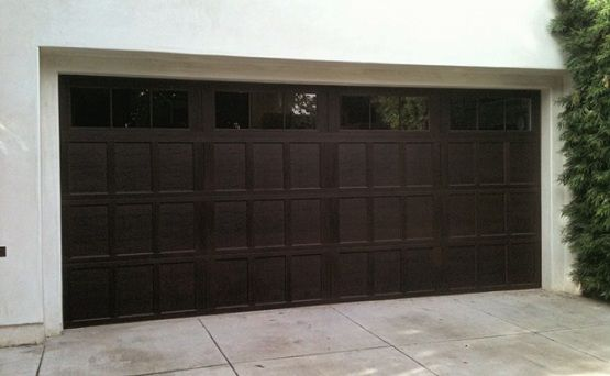 Double Garage Door Size With Brown Paint Finish And Glass Window