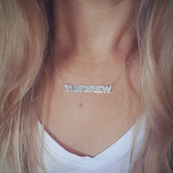 2a8d66eca7e9a Man Name Necklace Boyfriend Name Necklace Sterling Silver Name ...