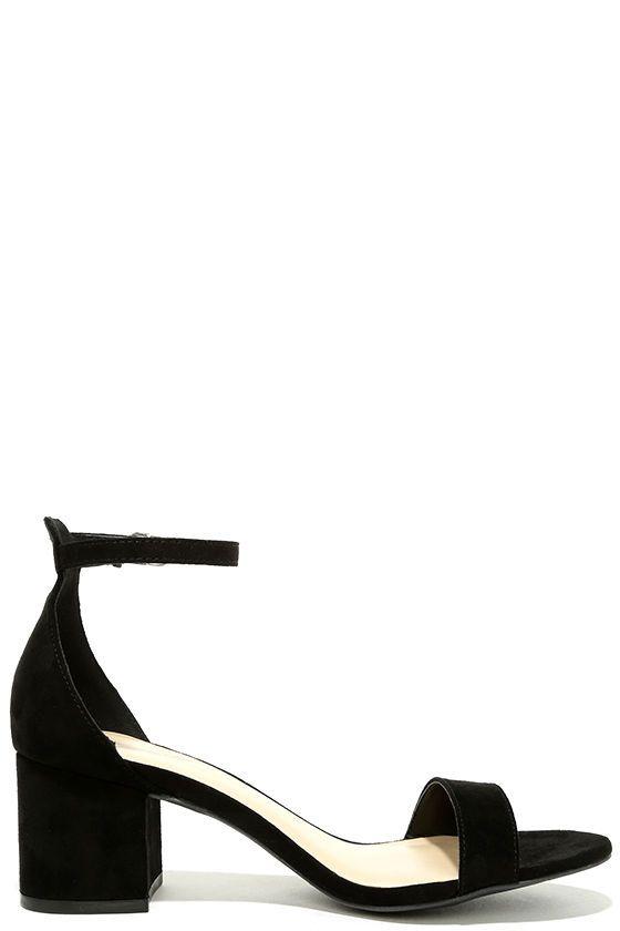ed1a5c7257b Harper Black Suede Ankle Strap Heels   shoes   Heels, Ankle strap ...