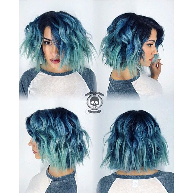 Grunge bob haircut with blue hair color melting to mint ...