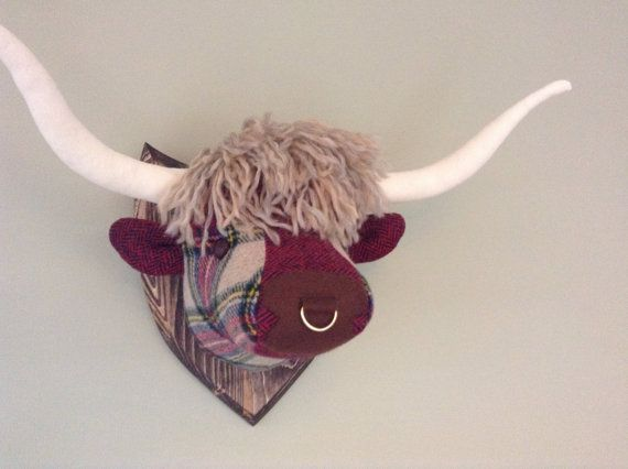 Harris Tweed Highland Cow Trophy All Unique Made In Scotland Etsy Highland Cow Faux Animal Head Cow