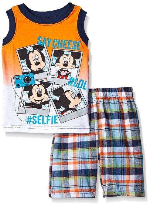 Disney Little Boys 2 Piece Mickey Mouse Plaid Muscle Tee Short Set, Orange, 4T