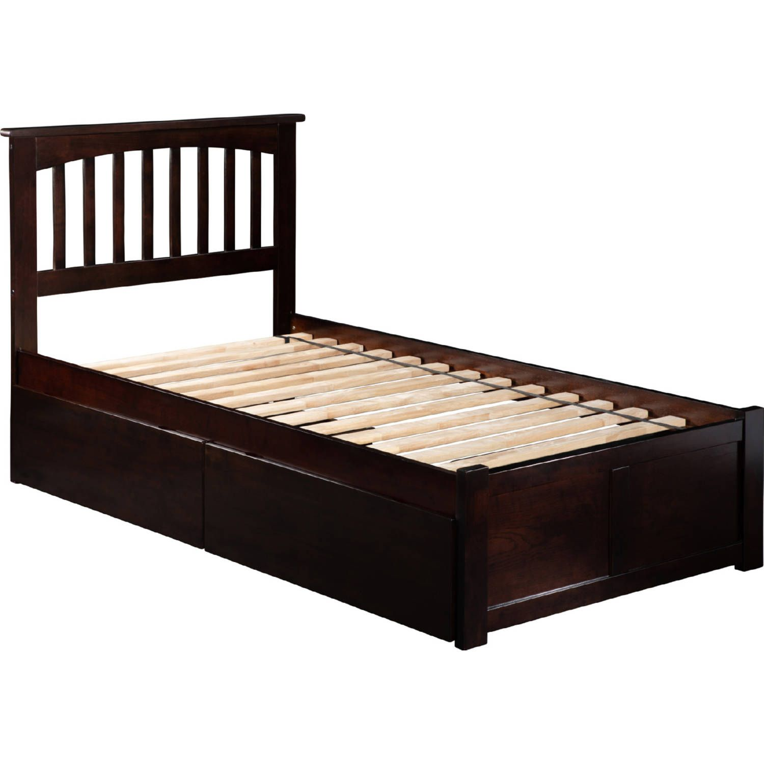 Mission Twin Xl Bed W Flat Panel Footboard 2 Bed Drawers In