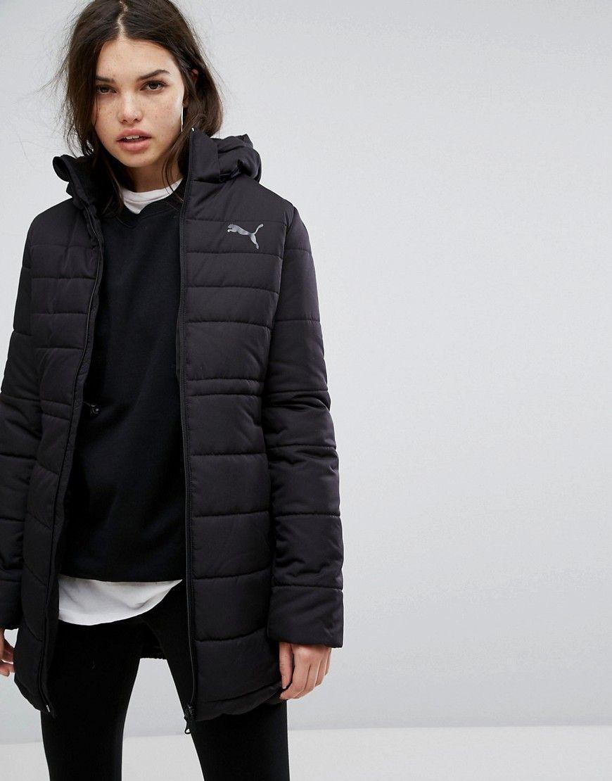 equilibrado Intento Pólvora  Puma Essentials Long Padded Jacket In Black - Black