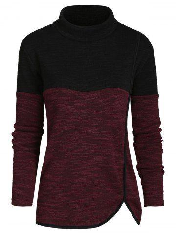 Mock Neck Heathered Casual Knitwear