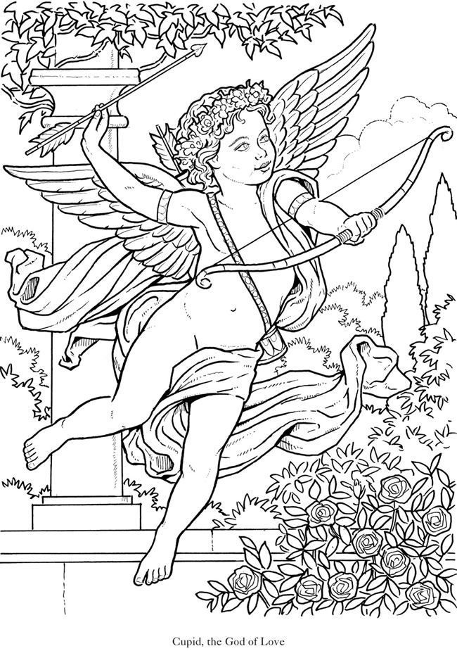 Cupid Coloring Page Glorioius Angels 2 From Dover Publications