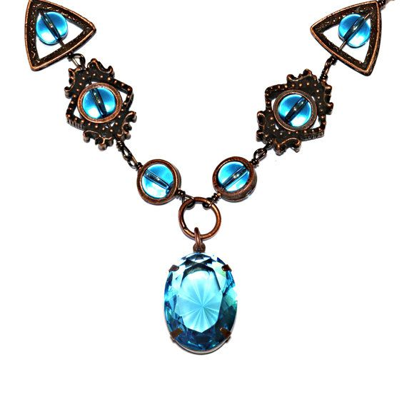 Neo Victorian - Necklace - Light blue Oval Glass Jewel - Antique Copper
