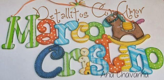 Letrero con nombre♥ Elaborado en mdf y totalmente pintado a mano ♥