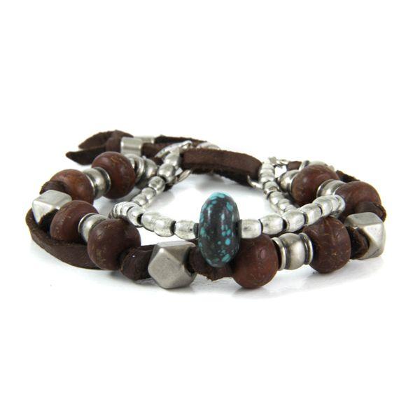 Ettika :: Mr.Ettika :: Mens Bracelets :: Multi Bead Deerskin Leather Bracelet with Turquoise Bead Nugget and Shield Charm