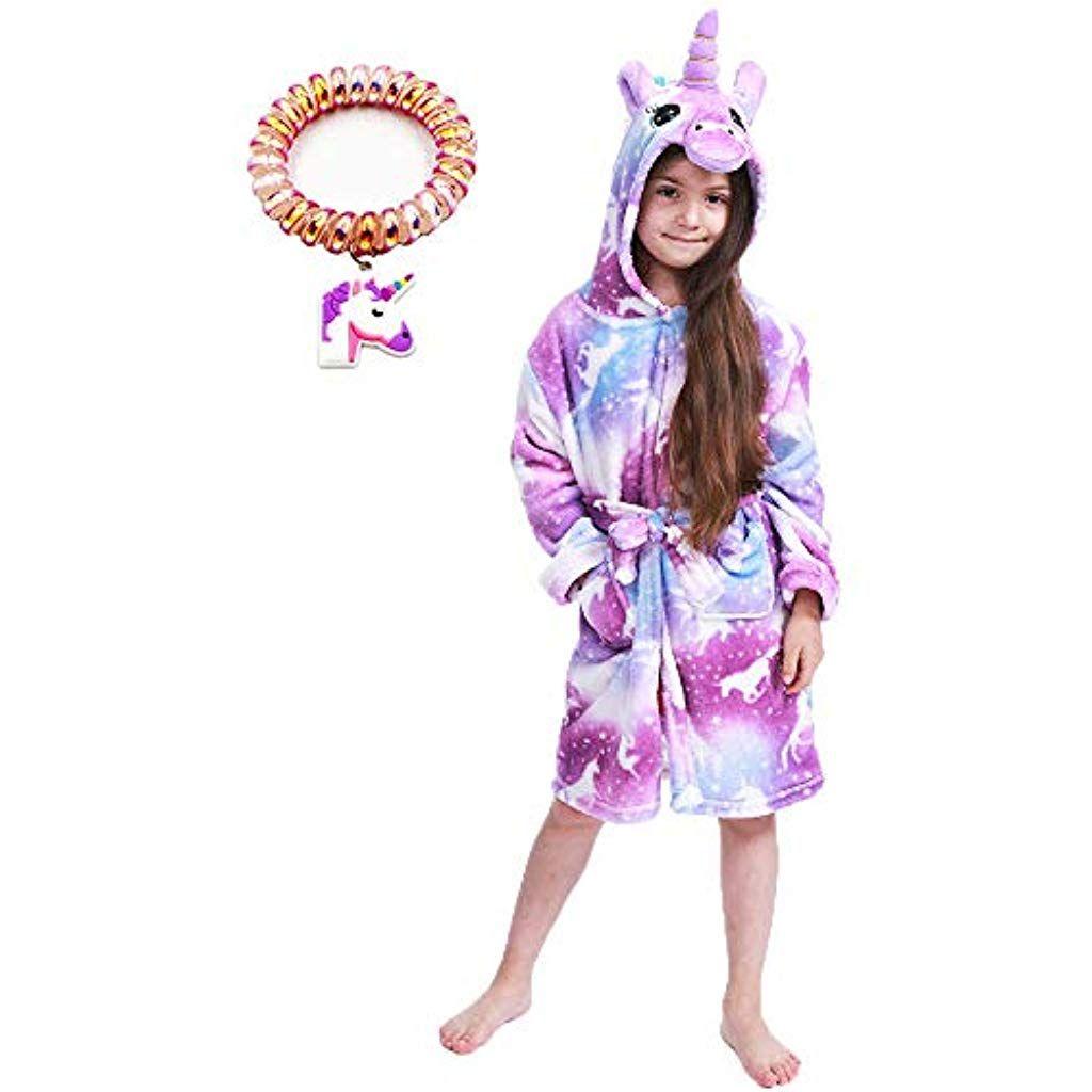 Ragazzi Ragazze Bambini Accappatoio Animale Unicorno Rosa Vestaglia in Pile Nightwear