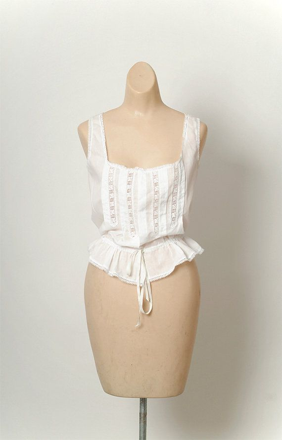 06e046b2146a vintage Edwardian Top Cache Corset blouse 1900s White Lace Top / Antique  Sleeveless Blouse on Etsy, $129.00