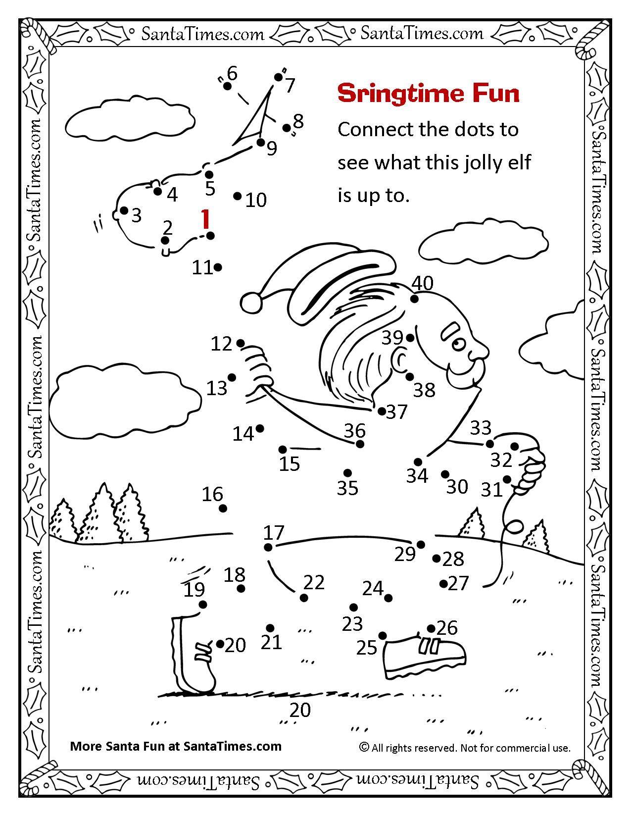 photo regarding Fun Printable Activities called Springtime Santa Pleasurable Dot-towards-dot Pleasurable Printable Coloring