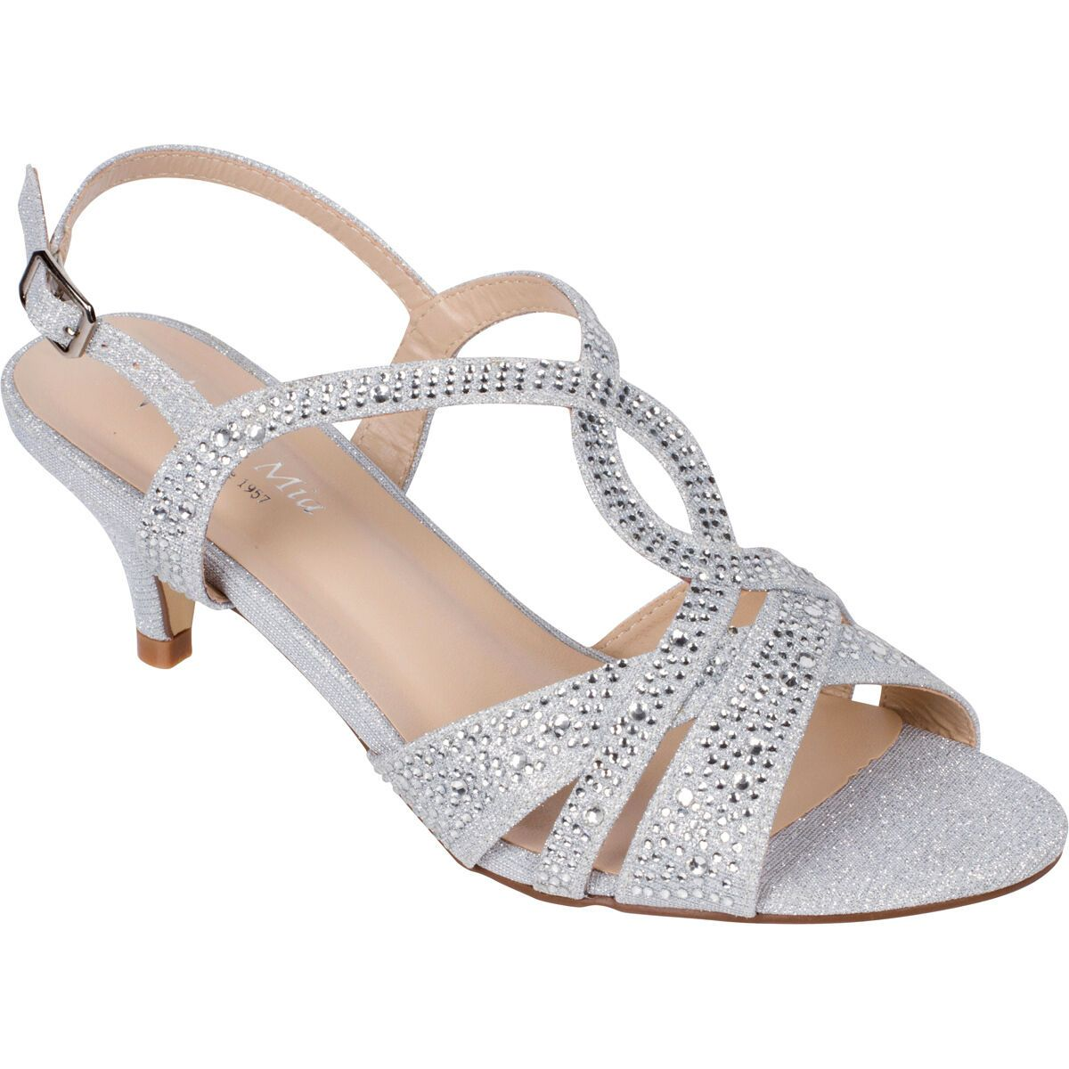 Women S Silver Dress Shoes Low Heel Sandals Wedding Rhinestone Open Toe Strappy In 2020 Silver Dress Shoes Low Heels Silver Dress Sandals Dress Shoes Womens