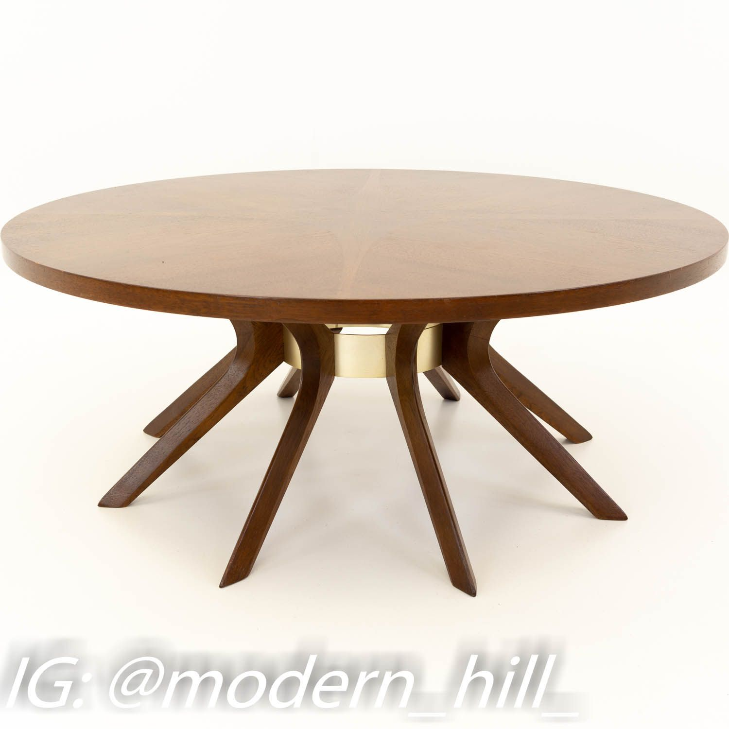 Broyhill Brasilia Mid Century Walnut Cathedral Coffee Table In