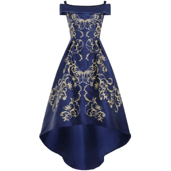 **Chi Chi London Embroidered bardot maxi dress ($99) ❤ liked on Polyvore featuring dresses, gown, blue dress, blue, blue hi lo dress, embroidered maxi dress, hi low dress, short in front long in back dress and mullet dresses
