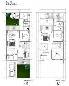 contoh denah rumah tipe 150   houses   pinterest   house