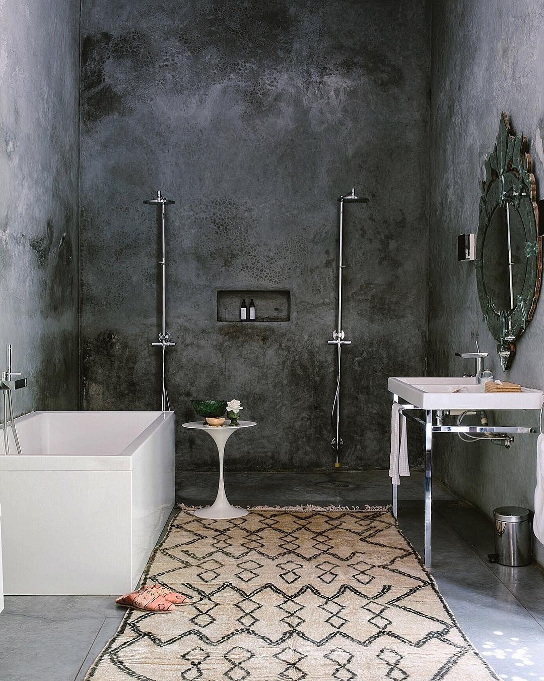 Carley Page Summers On Instagram Loved This Shoot In Morocco With Semikahtextiles Rugs We Had A Blast Moroccan Bathroom Bathroom Interior Concrete Bathroom