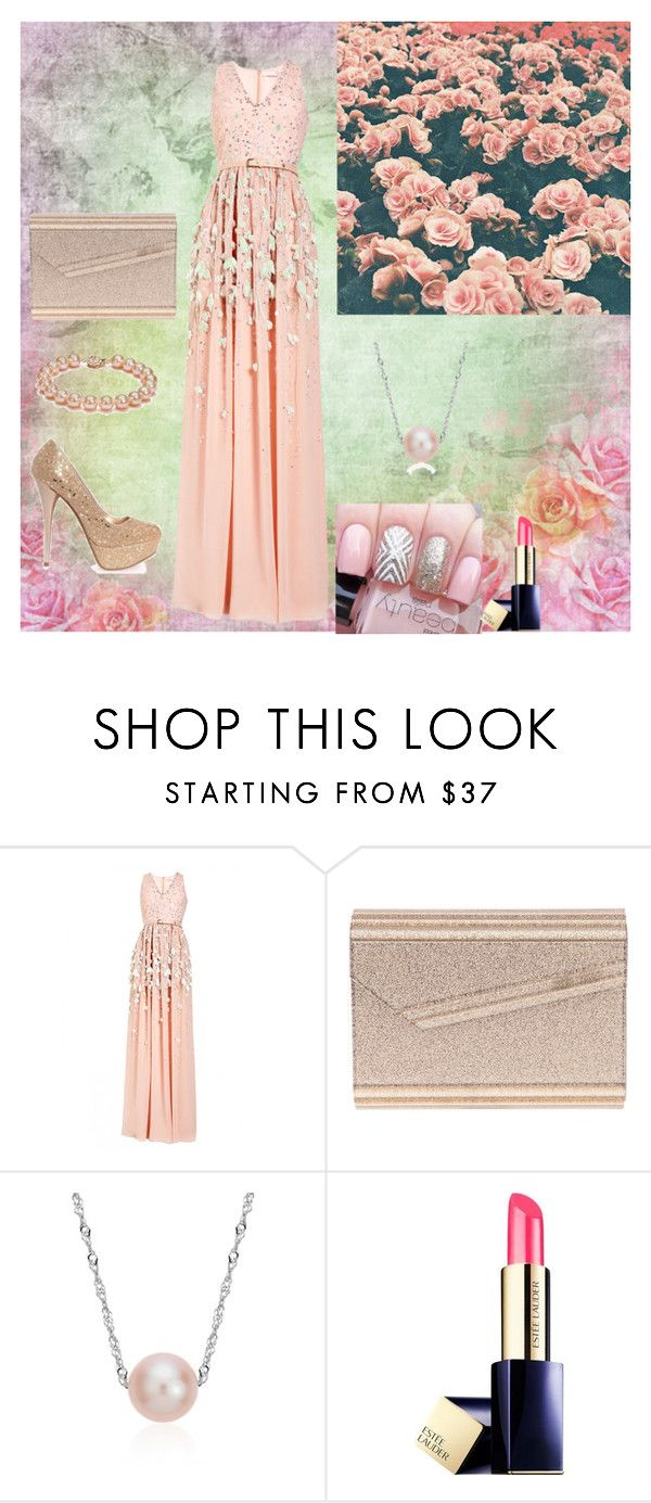 """Delicate Rose"" by oksana-kolesnyk ❤ liked on Polyvore featuring Matthew Williamson, Jimmy Choo, Blue Nile and Estée Lauder"