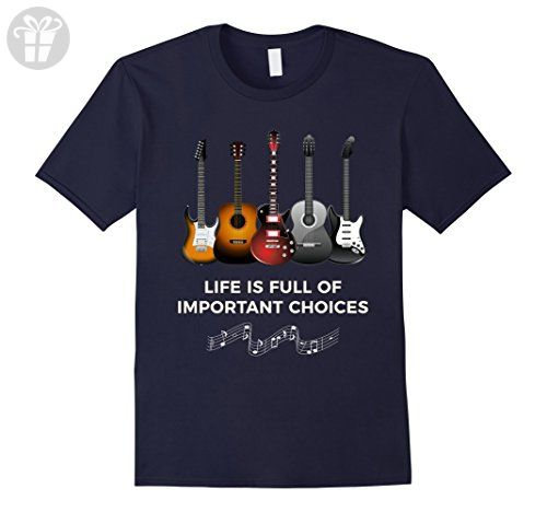 Mens Life is Full of Important Choices Funny Guitar T-Shirt Medium Navy - Funny shirts (*Amazon Partner-Link)
